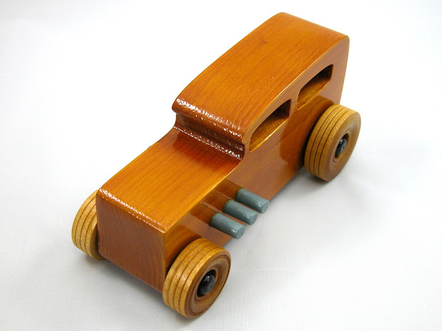 Handmade Wooden Toy Car, Hot Rod Classic 1932 Sedan, Finished Non-Toxic Amber Shellac With Grey And Black Acrylic Paint Trim