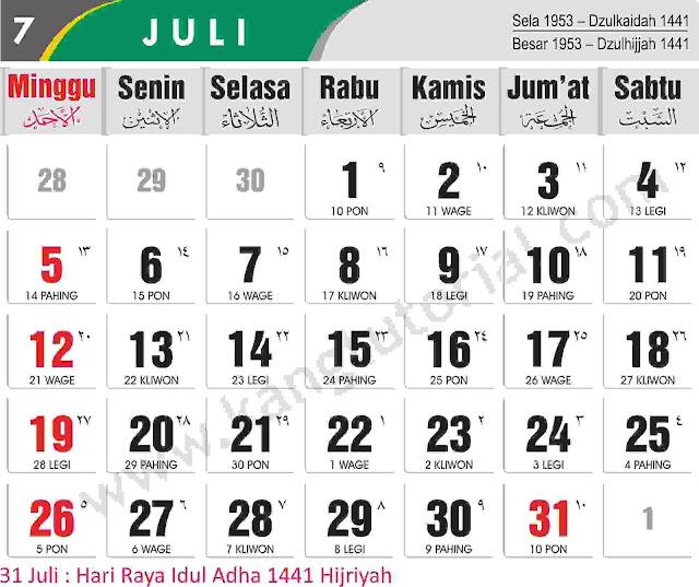 Download Kalender 2020 Gratis dan Lengkap
