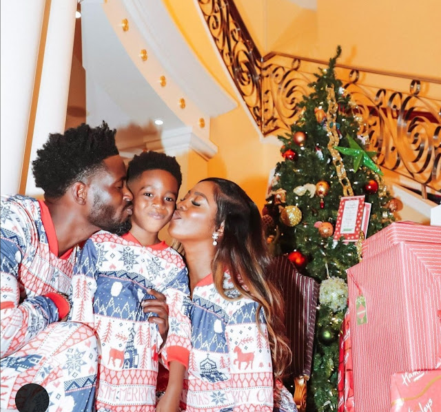 Rare family picture of Tiwa Savage, ex-hubby Teebillz and their son Jamil in Dubai