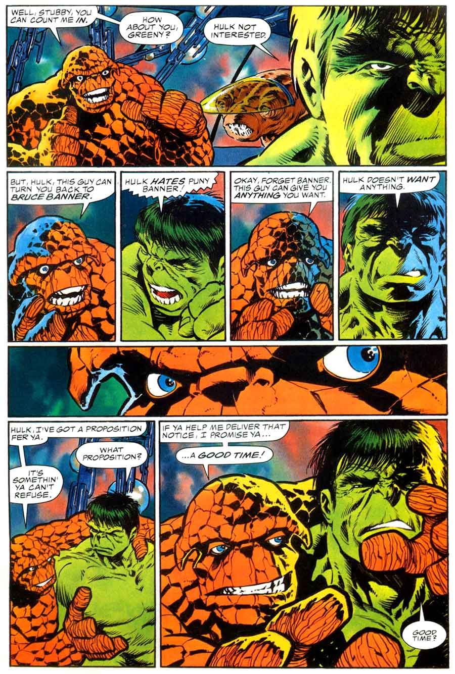 Incredible Hulk and the Thing graphic novel comic book page art by Bernie Wrightson