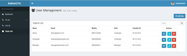 Code quản lý thành viên bằng PHP & MYSQL