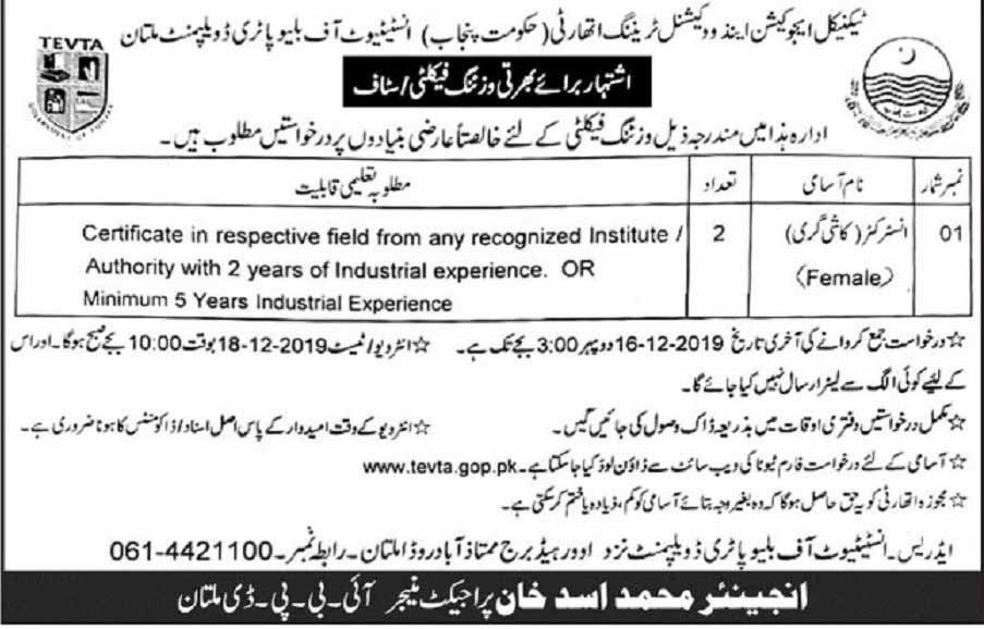 Govt Jobs in TEVTA Multan