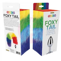 Rainbow Foxy Tail Fur Tail With Stainless Steel Butt Plug - Metal