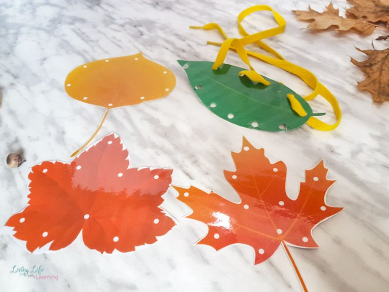 printable leaf lacing cards activity