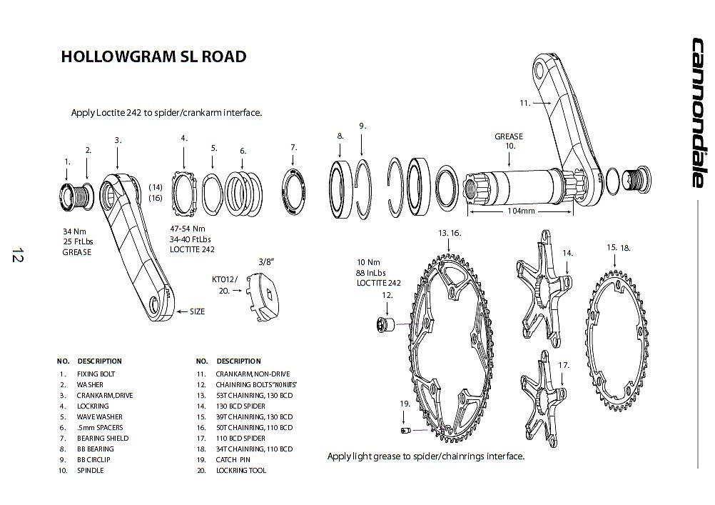Cannondale Hollowgram SL Crankset Owner's Manual