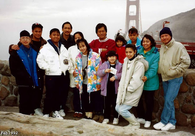 1992: Perseveranda family. Posing in front of the Golden Gate Bridge after picking up Tito Nelson & family from San Francisco Intl Airport.