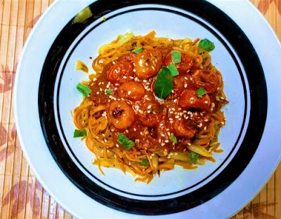 Spiced Sweet Potato Spaghetti with Basil Tomato Marinade and Charred Tomatoes (paleo, gluten-free, grain-free, dairy-free, whole30, vegan, plant-based).jpg