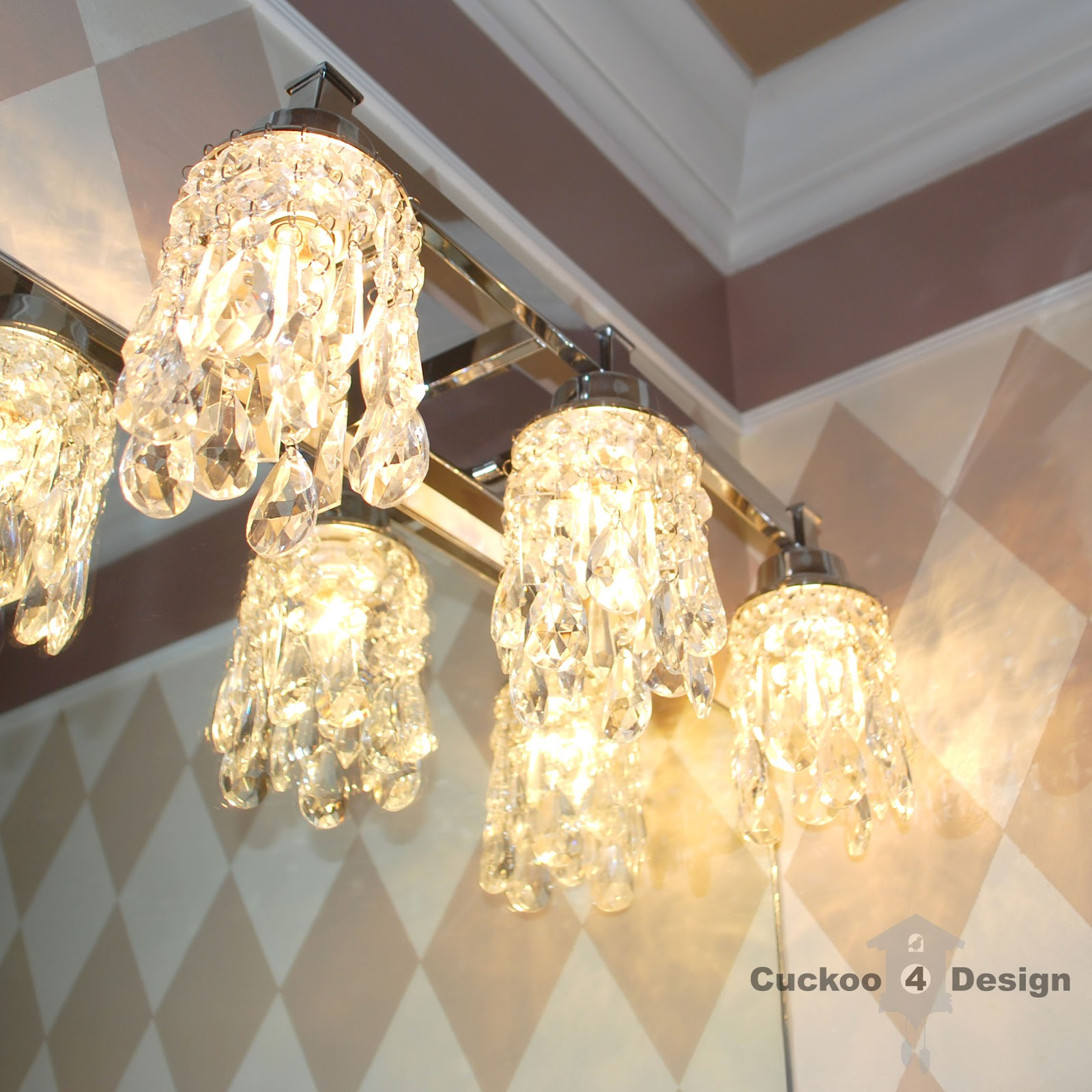 DIY crystal lamp shades for vanity fixture  Cuckoo4Design