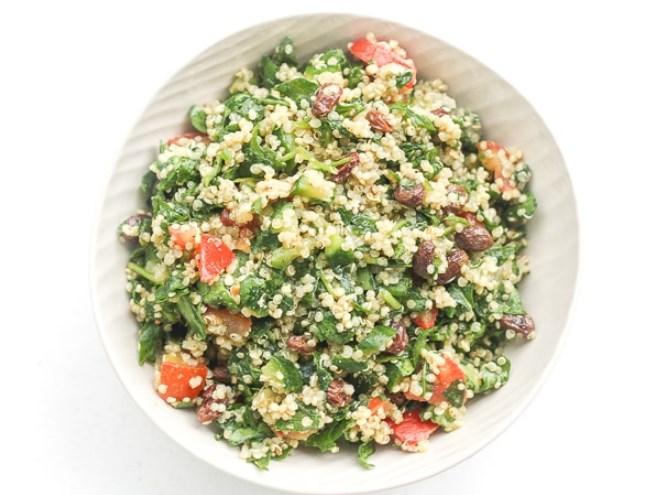 Quinoa Spinach Power Salad with Lemon Vinaigrette #salad #vegan