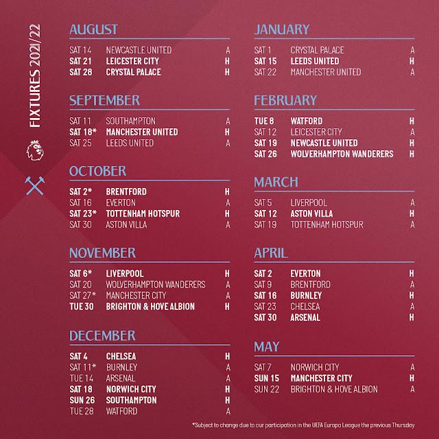 جدول مباريات وست هام فى الدوري الانجليزي للموسم الجديد 2021/2022