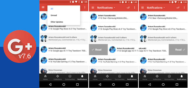Google+ Got v7.6 Update With Android N Style Swipe Action Menu & Notifications