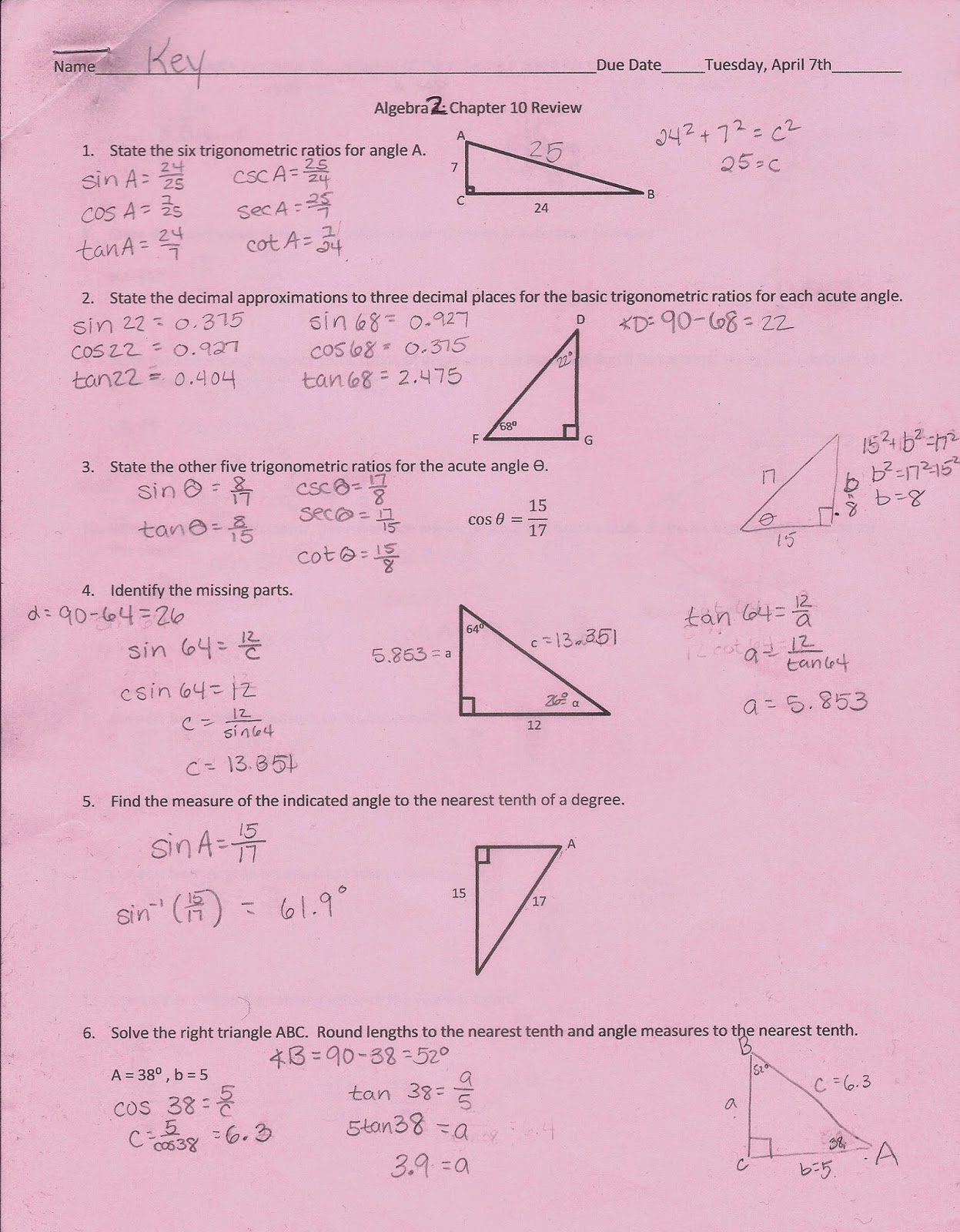 Algebra 2 chapter 9 review answers