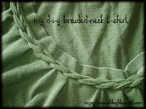 green t-shirt with braided neckline
