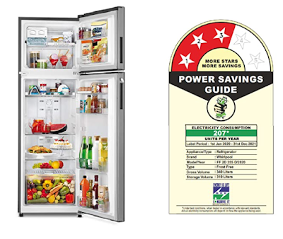 Whirlpool 340L Inverter Frost Free Double Door Refrigerator with Adaptive Intelligence Technology
