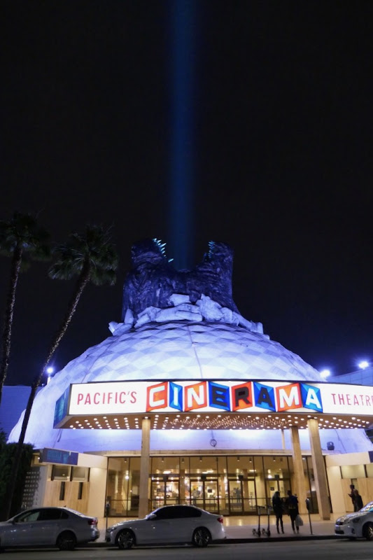 3D Godzilla head Cinerama Dome installation night