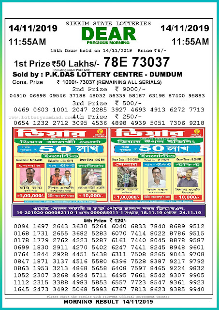 Sambad lottery 14-11-2019 Sikkim State Lottery Result 11.55 AM-lotterysambadresults.com