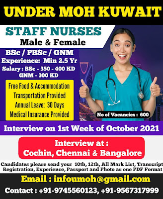 Urgently Required Male and Female Nurses to Under MOH - Kuwait