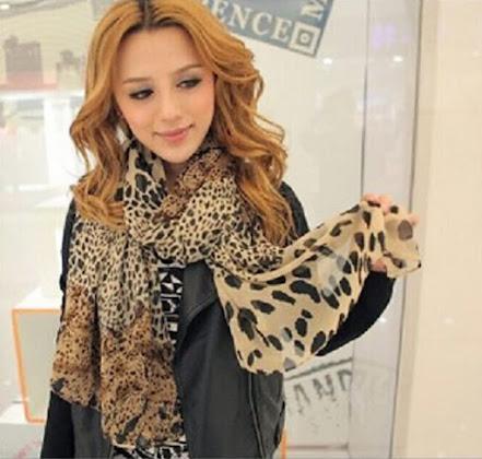 Cheap Leopard Print Silky Chiffon Scarves