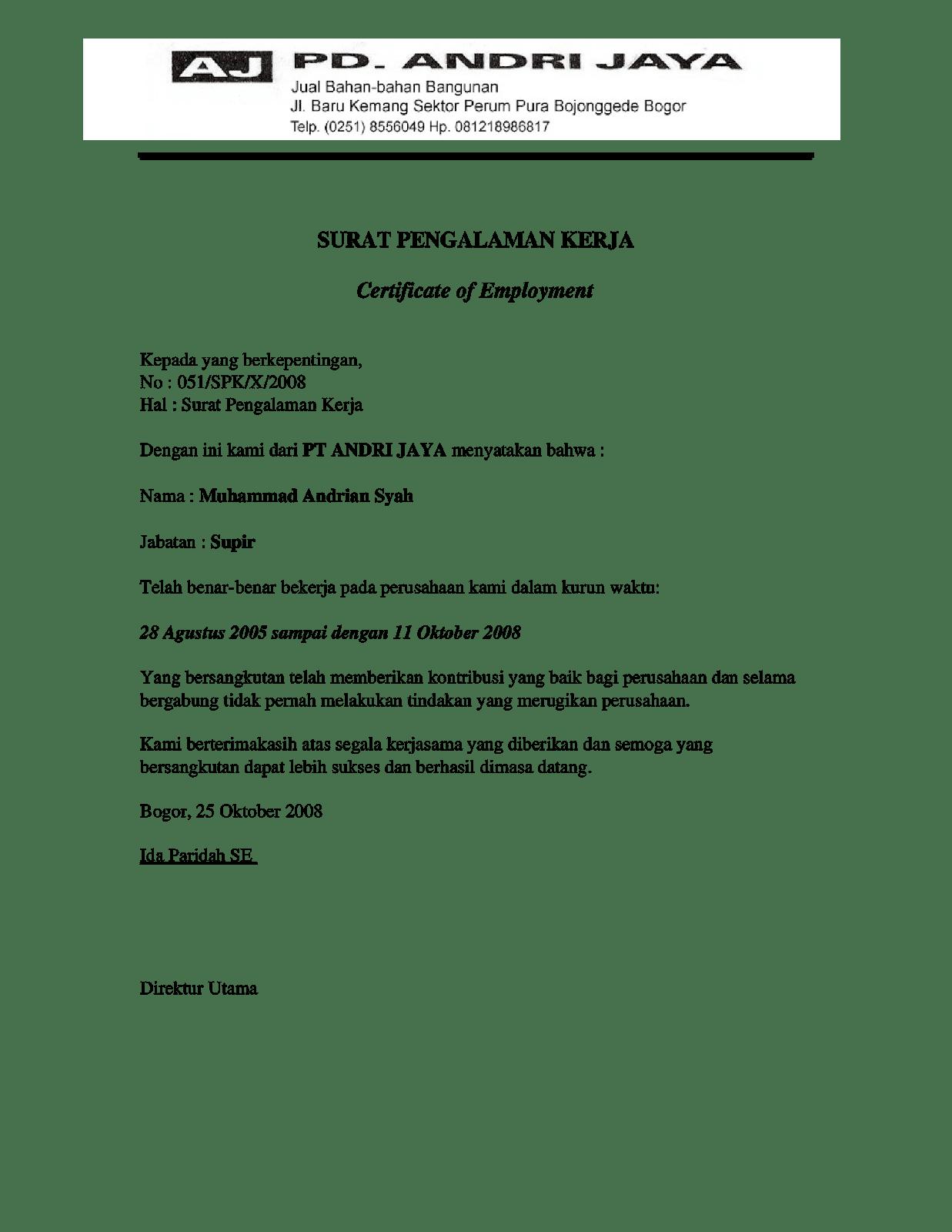 Contoh Surat Pengalaman Kerja Sopir