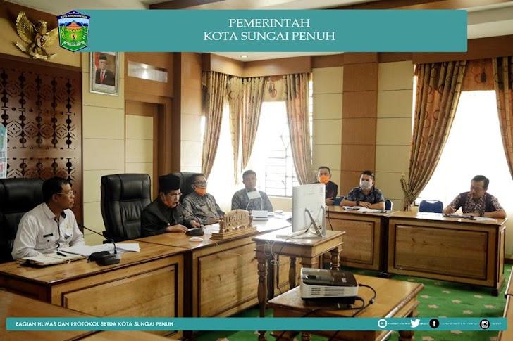 Wako AJB Teleconference Bersama Gubernur dan Bupati/Walikota se-Provinsi Jambi