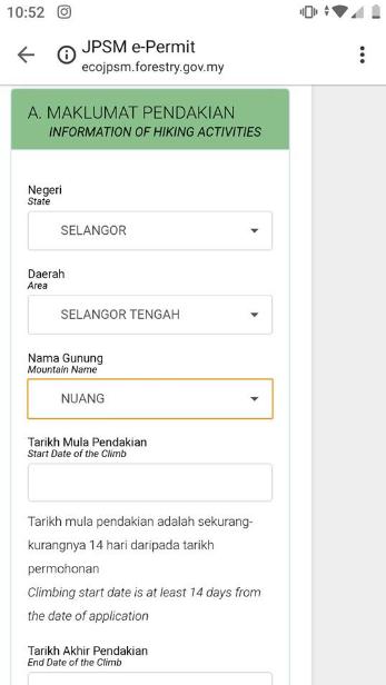 MOHON PERMIT MENDAKI GUNUNG DI SEMENANJUNG MALAYSIA