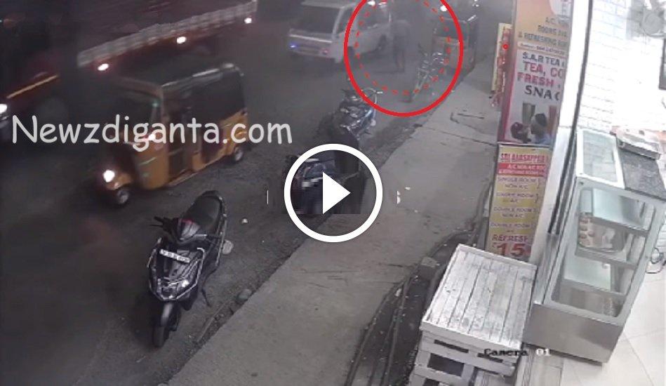 ஓடும் லாரியின் டயருக்கு அடியில் தலையை வைத்து த ற் கொ லை- பதைபதைக்கும் CCTV காட்சிகள்