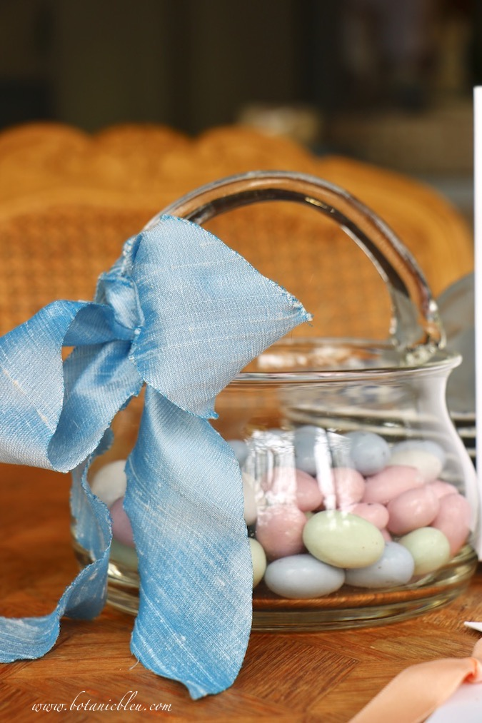 Chocolate covered almonds in pastel colors are favorites for Easter baskets