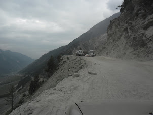 Negotiating the most dangerous mountain road towards the Zoji La pass.