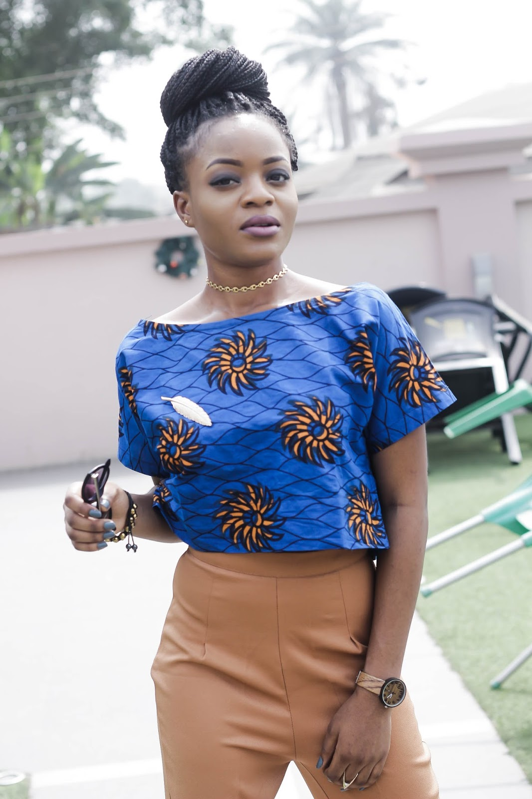 Brown/tan wide leg pant, ankara blouse,gold choker, Cedar Adinfono, oncedarplanet
