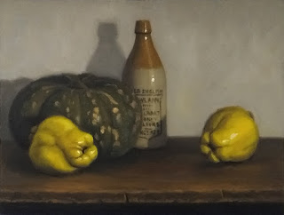 Still life oil painting of two quinces, a pumpkin and an earthenware bottle.