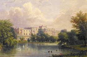 Buckingham Palace - the garden front from  across the lake  by Caleb Robert Stanley (1839)