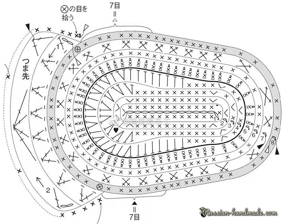 Пинетки-кеды крючком. Схемы вязания (5)