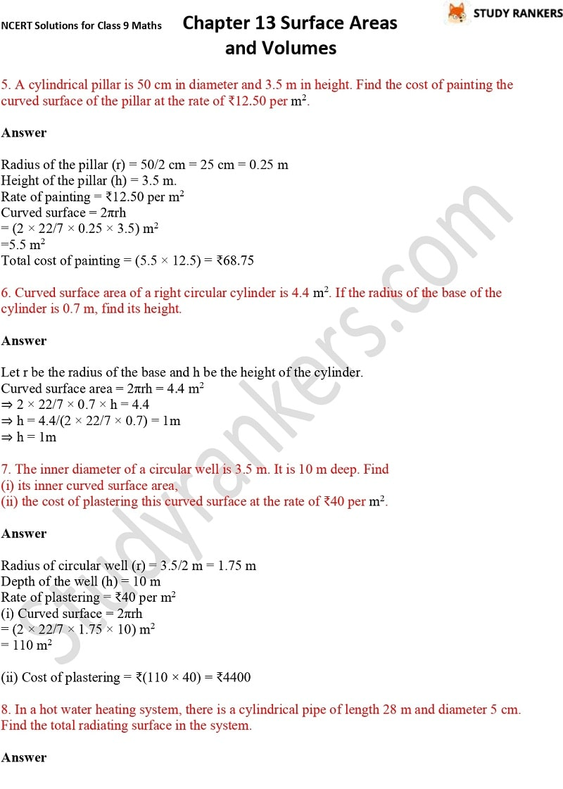 NCERT Solutions for Class 9 Maths Chapter 13 Surface Areas and Volumes Part 6