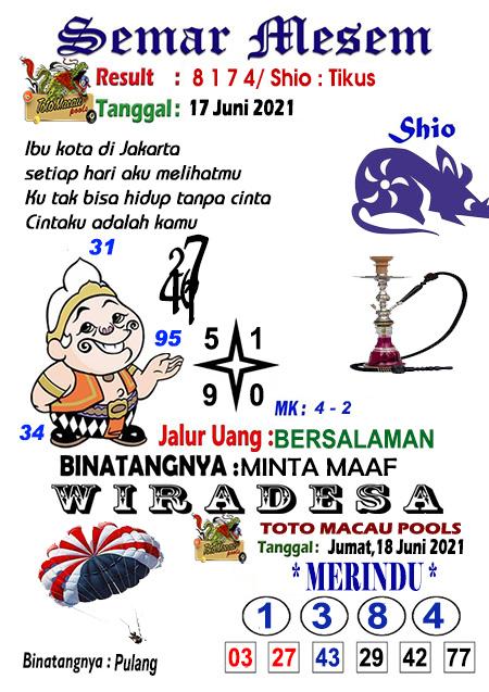 Syair Semar Mesem Toto Macau Jumat 18 Juni 2021