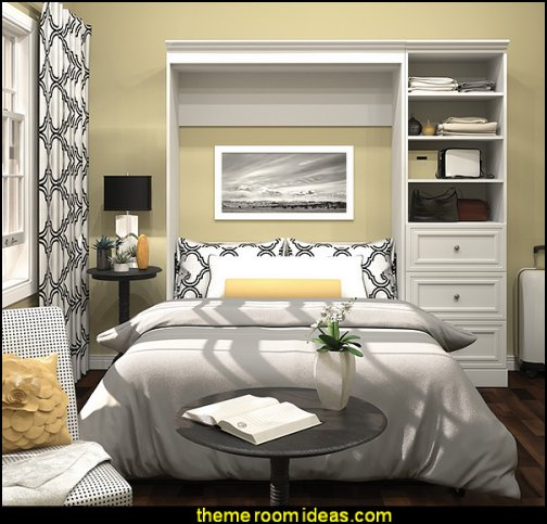 White Full Wall Bed Kit bed storage solutions