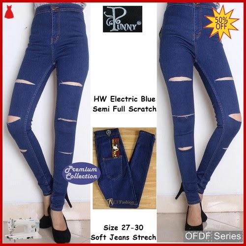 OFDF243 Jeans Ripped Jeans Punny Navy Biru BMGShop