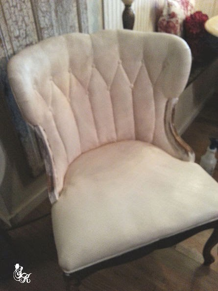 DIY painted fabric chair tutorial.