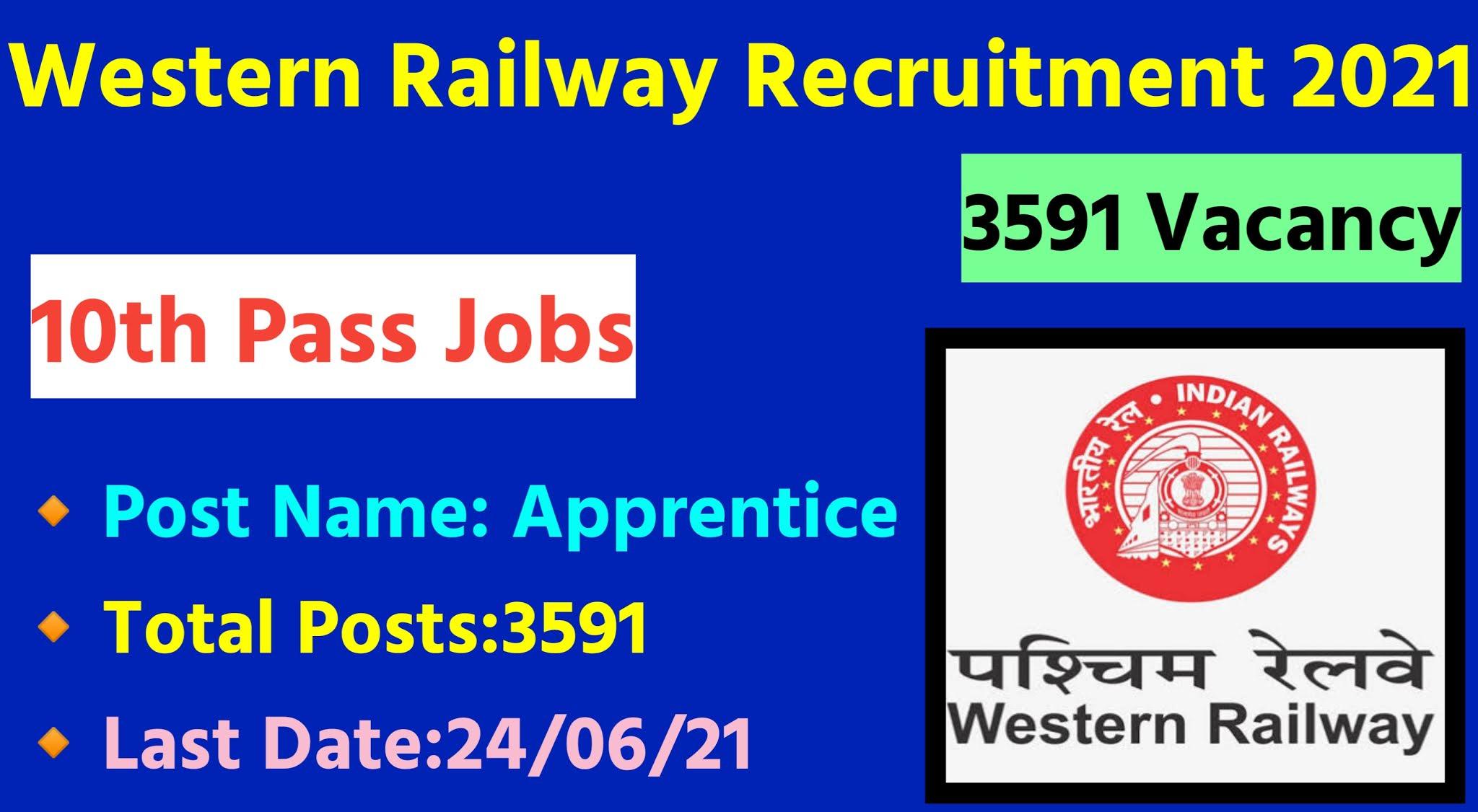RRC WR Railway Apprentice Recruitment 2021|Apply Online 3591 Vacancies