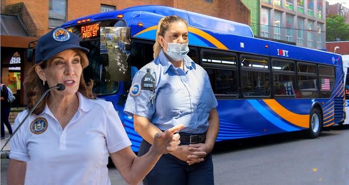 Gobernadora reconoce conductora dominicana de autobús MTA que desafió tormenta para transportar pasajeros en Queens