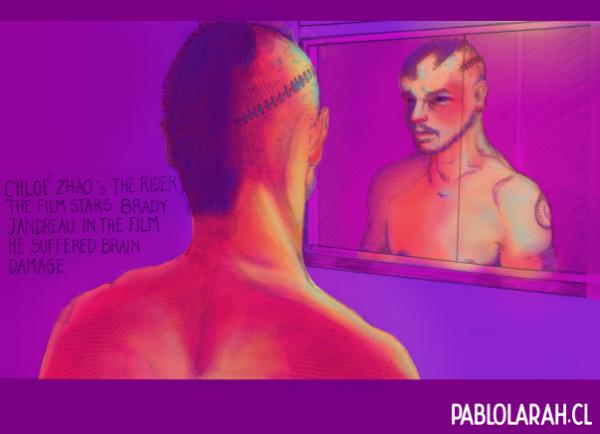 Illustrating Brady Jandreau as Brady Blackburn, Head injury, Scar, Pablo Lara H