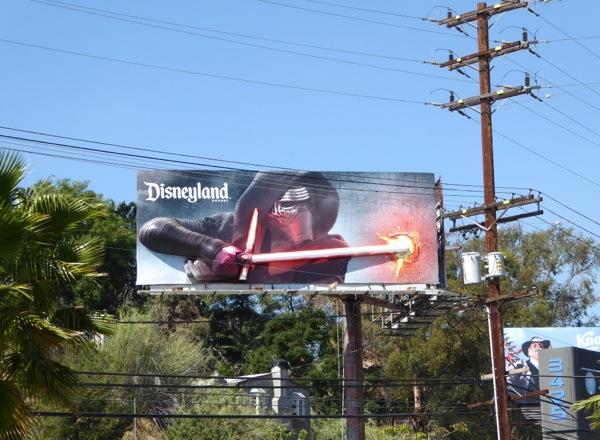 Kylo Ren 3D lightsaber Disneyland billboard daytime
