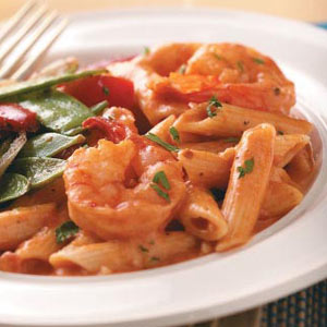 Creamy Tomato Shrimp with Penne ~ source:tasteofhome.com