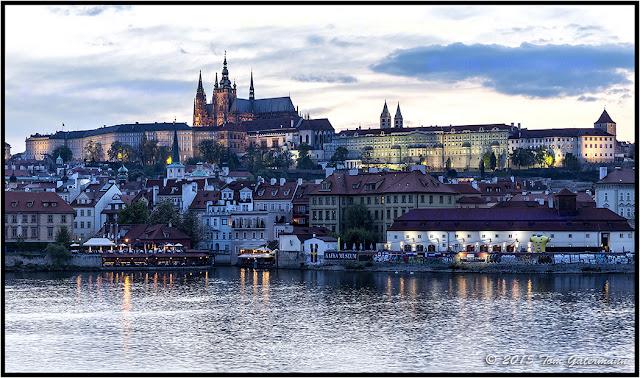 Prague Castle at dusk from the Charles Bridge.