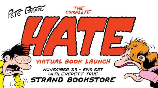 Peter Bagge virtual launch for Complete Hate, Monday