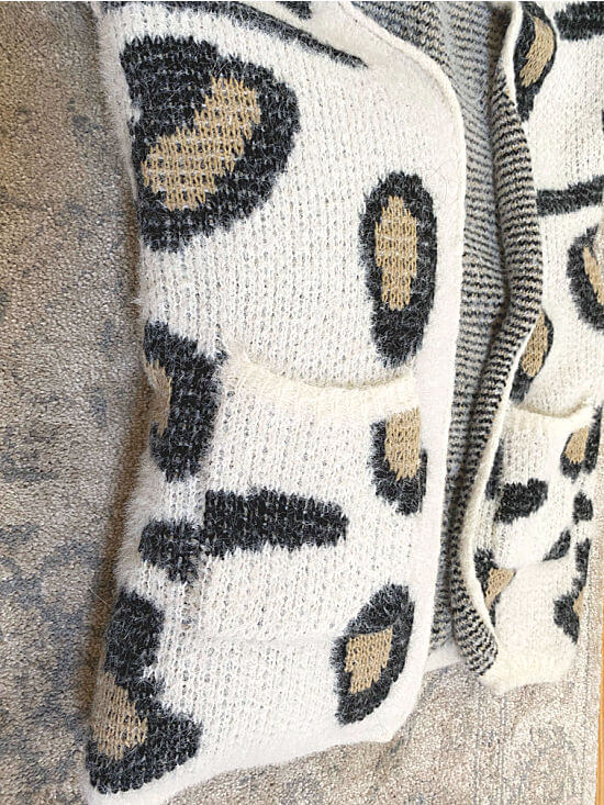cheetah print sweater made into a pillow