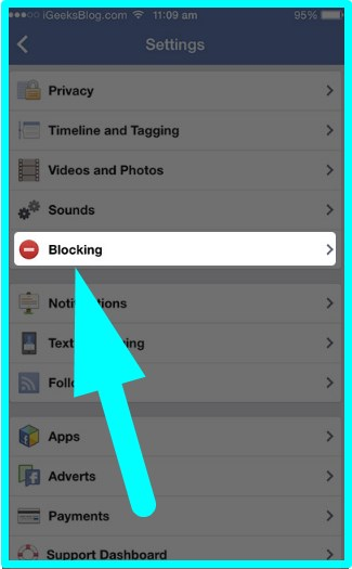 how to block friends on facebook on ipad