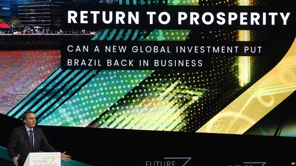 El presidente de Brasil, Jair Bolsonaro, durante el foro sobre inversiones en Arabia Saudí. Bolsonaro defendió sus políticas ambientales y criticó la elección de Alberto Fernández en Argentina / AP