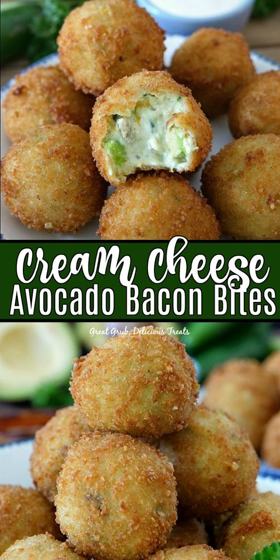 Cream Cheese Avocado Bacon Bites are loaded with cream cheese, avocados, bacon, cheese and fried to a golden brown. #appetizerrecipes #gamedayfood #avocadoappetizers #delicious #greatgrubdelicioustreats
