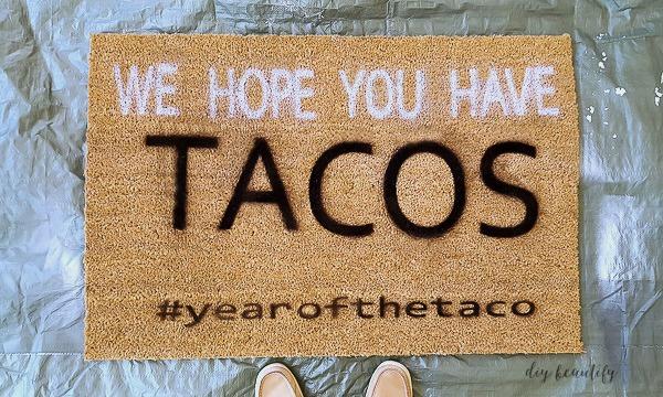 tacos front door mat diy