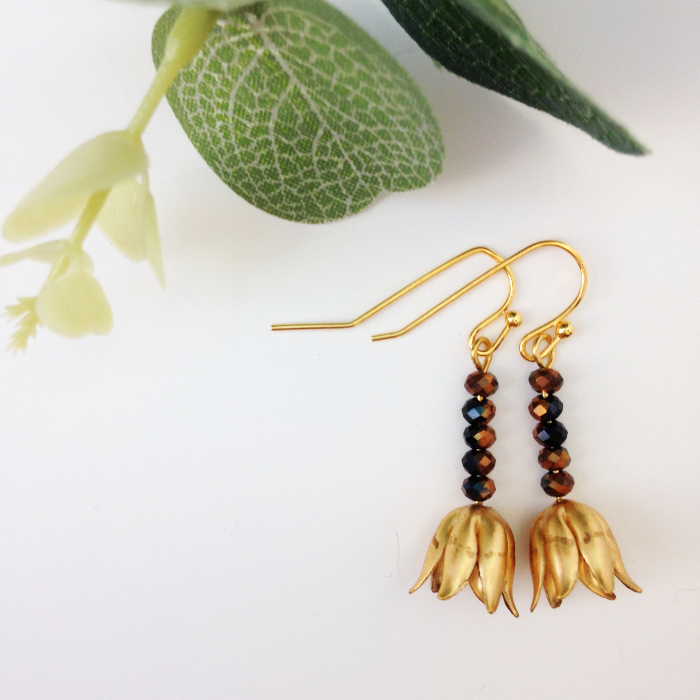 delicate gold tulip earrings black copper crystal - great for alternative brides